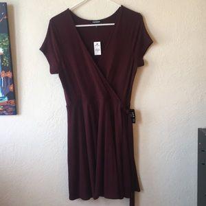 NWT Maroon Ribbed Wrap Dress